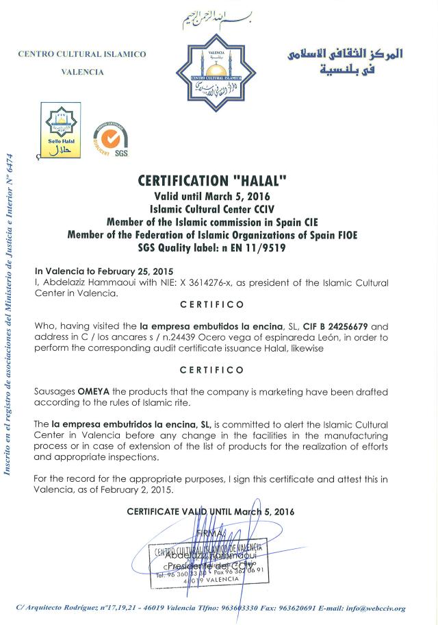 certificat omeya halal en